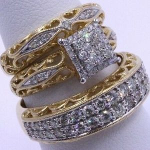 NIB White Sapphire WeddingStacking Ring Set GF  9